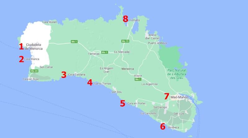 Mapa de las zonas donde alojarse en Menorca